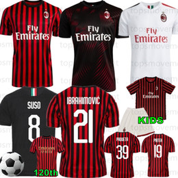 21 camisolas on-line-Thai AC Milan 21 IBRAHIMOVIC 19 20 New Futebol 2019 2020 Piatek Football Shirt Paquetá SUSO CALHANOGLU CALDARA Homens Jerseys
