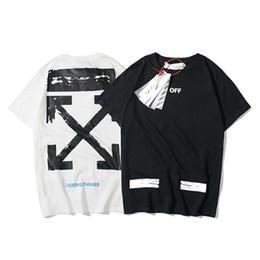 Medio cuello camisa online-Tide Card Hundred and Up Graffiti Algodón puro Manga corta T Camiseta Hombres y mujeres Tendencia Media manga Blusas de fondo