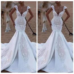 скромные модные платья Скидка Европейская мода Стиль Тонкий Русалка Свадебные платья Кружева Сад Длинные Lardo Vestidos De Marriage Свадебные платья Формальные 2019 Скромный Африканский