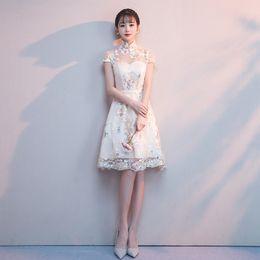 Chinesische braut kostüm online-2019 chinesische kleid formale qipao königliche hochzeit cheongsam stil kostüm braut vintage chinesische traditionelle stickerei spitze
