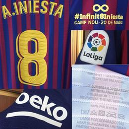 Patchs chinois en Ligne-Adieu 2018 Farewell Iniesta Match Numéro du joueur usé MESSI SUAREZ VERSION CHINOISE Personnalisez votre numéro de badge