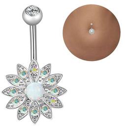 2019 bague de diamant en acier chirurgical Style 3 pièces en acier inoxydable 14G anneau de nombril en acier inoxydable anneau de nombril dame fleur perforation