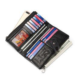 Caso do telefone do desenhador Universal Anti-roubo RFID escova Anti-radiação Saco de couro Real Carteira Celular Bolsas para o seu Telefone e cartão de banco cheap rfid phone de Fornecedores de telefone rfid
