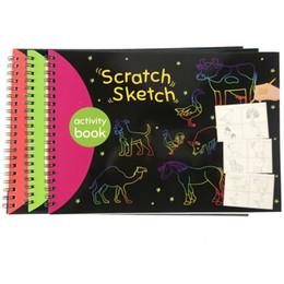 bambini di carta graffi Sconti Scratch bambini arabo e Sketch Book Coloring Painting Art prescolare Formazione bambini precoce Education Learning Giocattoli