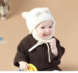 354be2e62139a Niños sombreros de punto Gorros Cartón encantador orejas de gato Gorras  Hechas a mano Protección cálida Maternidad Algodón de invierno gorros 6-18  meses por ...