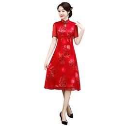 Ropa de verano casual sexy de china online-Verano de las mujeres chinas elegante dama corta collar mandarín qipao botón hecho a mano cheongsam vestido sexy vestido de tamaño M-XXXL