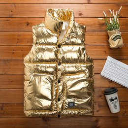 Brillanti cappotti invernali online-Coppia in pelle luminosa giubbotto cappotto casuale 2019 autunno e in inverno uomini vestiti nuova moda maschile stare gilet bavero del cappotto