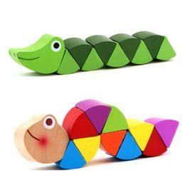 2019 crianças quebra-cabeça do relógio Montessori Brinquedos Educativos Brinquedos De Madeira para Crianças Early Learning Exercício Do Bebê Dedos Flexível Crianças De Madeira Torção Insetos Jogo