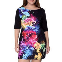 df93fab3f226 Women Dress Plus Size Lady Summer Floral Print Half Sleeve Vintage Dress  high quality Party Dresses Vestidos Robe Ete 5
