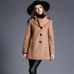 Abrigo de camello de cachemir de las mujeres online-Más el tamaño de las mujeres de invierno de lana largo abrigo 2018 Vintage elegante ropa de moda de cachemir de Corea Camel Coat
