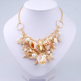 2020 insieme degli orecchini della collana della stella Nuovo arrivo casual Starfish e conchiglia orecchini collana insieme di gioielli all'ingrosso su misura delle donne set di gioielli di perle insieme degli orecchini della collana della stella economici