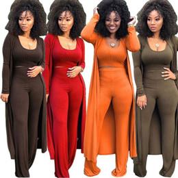 Abrigos largos de mujer online-Color sólido de otoño Conjunto sexy de tres piezas O Cuello, top corto y largo Escudo, cintura alta, pantalones largos, chándal