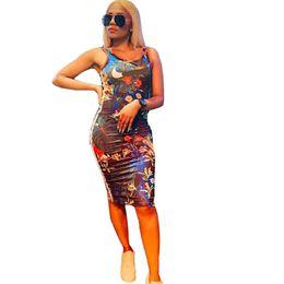 2019 vestidos de praia marcas Womens NK Sem Mangas Saias Florais Marca Designer Smmer Vestidos Bodycon Tanque Colete Bodycon Partido Club Beach Praia Saia Curta Pano C62802 vestidos de praia marcas barato