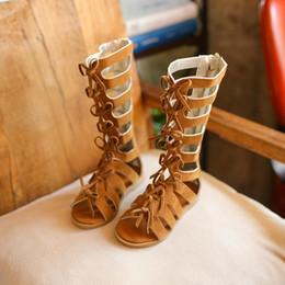 meninas sandálias gladiador alto Desconto