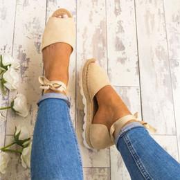 Boca plana online-Zapatos de playa para niñas Zapatos planos de verano Boca de pescado Totalizador Sandalias transpirables Deportes de playa para mujer Cubrir el talón Sandalias de amarre