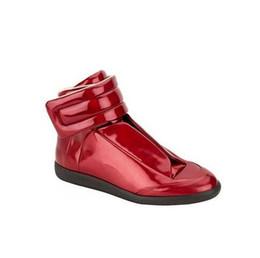 Herren-schuhe dicken gummisohlen online-Luxus Männer Schuhe Leder Rot Schwarz Hip Hop Schuhe Hohe Qualität Männer Wohnungen Casual Gummi Herren Dicke Sohle Plus Größe 47