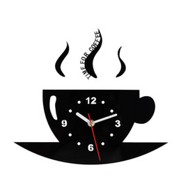 decorare le pareti della cucina Sconti Tazza di caffè Orologio da parete Specchio Orologio Bardian Decorare Lato singolo Soggiorno circolare Forniture da cucina Puntatore in metallo Creativo 19ksC1