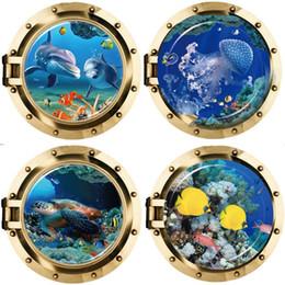 2019 pinturas clássicas anjos 3D paredão janela submarino criativo decalques etiqueta peixes do oceano submarinos papel de parede crianças casa sala decoração do banheiro quarto