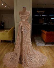 Bata sirena sirena online-Nueva llegada tren largo de la sirena de oro 2020 vestidos de noche de alta Dividir vestido de noche vestidos de noche formal robe de soirée Abendkleider