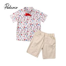 Roupa antiquado dos miúdos on-line-2 pcs Criança Crianças Roupas de Bebê Menino Conjuntos de Camisa Floral Tops + Calças Curtas Outfits Roupas Conjunto de Moda de Nova 1-6 Anos de Idade