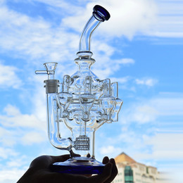 Argentina Dab Rigs Glass Bong Eight Recycler Pipas de agua Oil Rig 12.6 pulgadas Hookah Dabs Pulpo Arms Bubbler Bongs con recipiente de vidrio Suministro