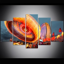 oil painting dream Coupons - 5 Piece Large Size Canvas Wall Art Dream Carnival Flywheel Print Oil Painting Wall Art Pictures for Living Room Paintings Wall Decor