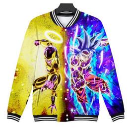 2019 casaco z 2019 Anime Dragon Ball Z 3D Wintet Mens Bombardeiro Casual jaqueta de beisebol dos homens / mulheres DBZ Super Saiyan Goku Anime Moda hoodies camisolas casaco z barato