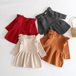 robes de bébé tricotées Promotion Filles Tricoté Robe Enfant Bébé Princesse Robes Coton Infant Tops Chemises De Noël Nouveau-Né Fille Vêtements Boutique Vêtements De Bébé DW4207