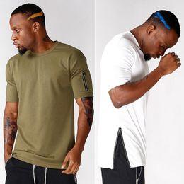 nouveaux t-shirts pour les hommes Promotion Nouveau Design Zipper T-Shirt Hommes Garçon Hip-hop Tops Blanc Noir Manches Courtes 100% Coton T-shirts Longs Tees Sport Jogger Top Gilet LGF0434