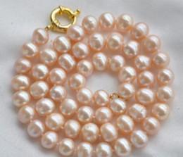 Argentina Jewelryr Collar de perlas para mujeres nobles de regalo 17INCH GOLD CLASP HUGE Natural 10-11mm rosa redondo de agua dulce cultivado collar de perlas Envío Gratis Suministro
