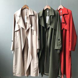 US $23.78 20% OFF|Women Outerwear Springautumn Woman Coat Female Brand Jackets Ladies Casual Slim Long Turn down Collar Windbreaker Y58|autumn women