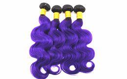 brasilianisches reines haar ombre purpurrot Rabatt 1B / Purple Body Wave Haarverlängerungen 3 oder 4 Bundles brasilianisches 100% reines Menschenhaar spinnt Ombre zwei Ton Farbe