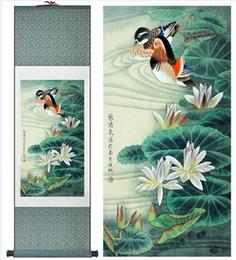 pinturas autos deportivos Rebajas Super Calidad Arte Chino Tradicional Pintura Decoración de Oficina en el Hogar Pintura China Patos Mandarines Jugando En El Agua arte chino