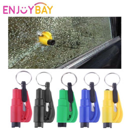 keychain car escape Promo Codes - 3 in 1 Emergency Mini Safety Hammer with Keychain Ring for Car Glass Window Breaking Escape Rescue Knife Cutter Hammer Keyring