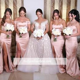 84347ef57a Dusky Pink Mermaid Sheath Vestidos de dama de honor para bodas de verano  Bohemian Beach Wedding Invitados Fiesta Vestidos de noche de hombro BC0922  vestidos ...