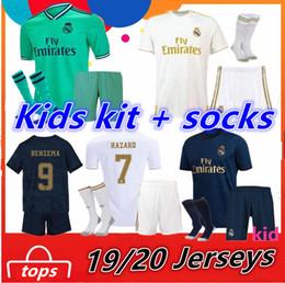 2019 calzini per ragazzi HAZARD 2019 2020 Real Madrid Kit per bambini + calzini Ronaldo MODRIC pullover da calcio 19 20 VINICIUS BENZEMA magliette da calcio Boys camiseta de futbol calzini per ragazzi economici