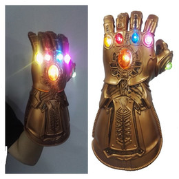 mask action Coupons - LED Light Thanos Infinity Gauntlet 4 Endgame Cosplay Mask Gloves PVC Action Figure Model Toys Gift Halloween Props
