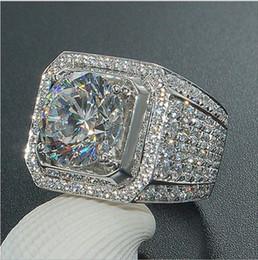 мужские кольца для драгоценных камней Скидка Мужские кольца хип-хоп ювелирные изделия Циркон обледенелые кольца роскошный огранки Topaz CZ Diamond Full Gemstones Мужчины обручальное кольцо ювелирные изделия оптом