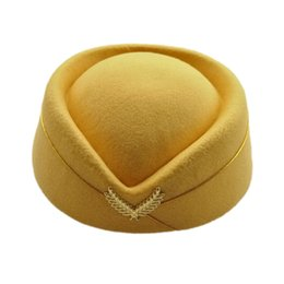 cappello sexy della ragazza Sconti 2019 nuove lane elegante Feltro Pillbox Air Hostess ragazze Beret Cap Hat Base aerea Stewardess convenzionale sexy del cappello di uniformi