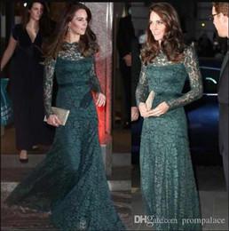 Robes de soirée élégantes formelles en dentelle vert foncé à manches longues robes pour occasions spéciales KATE MIDDLETON même style robe de bal rouge tapis ? partir de fabricateur