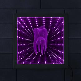 Espace de bureau en Ligne-3D Dent Tunnel Vision Cadre En Bois Clinique Dentaire LED Miroir Infini Endless Space Graphics Orthodontiste Dentiste Nouveauté Cadeaux