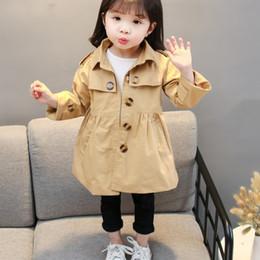 2020 корейский стиль одежды ребенка Детские девушки пальто весна осень длинным рукавом Turn Down Воротник цвета Верхняя одежда Мода милые дети Outfit корейский стиль дешево корейский стиль одежды ребенка