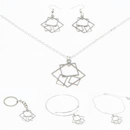 Aretes rectangulares online-Símbolo de rectángulo collar de plata tonerectangle Elemento Acero inoxidable Joyería llavero brazalete pendiente