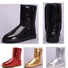 Boton rojo boton rojo online-Lentejuelas populares oro rojo plata negro Zapatos de mujer invierno Australia Botas de nieve WGG Chica Tobillo Rodilla Botín de invierno cálido