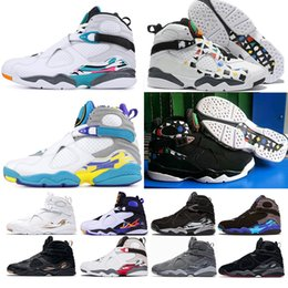 pacote de aqua Desconto nike air Jordan 8 Dia Dos Namorados 8 s Vday Aqua Preto Roxo Chrome Countdown Pack Tênis De Basquete Homens Esportes Sneakers 40-47