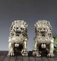 estátua de prata chinesa Desconto Chinês velho prata tibetana esculpida par foo cachorro leão estátua