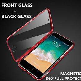 starbucks para iphone Rebajas Doble de lujo se puso del lado magnético del caso de cristal de metal para el iPhone iPhone XS MAX X XR Nuevo iPhone Samsung Caja del teléfono de la cubierta del imán 360 Protección completa