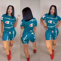 hot suit girls Promo Codes - Women Champions Letter Summer Short Suit Short Sleeve T-shirt Top Tees + Shorts Pants Two Piece Set Tracksuit Jogger Gym Outfit Hot A3162
