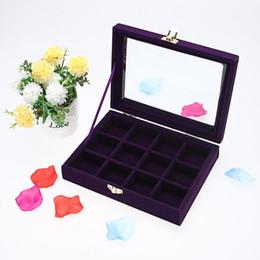 2019 caixa de veludo roxo Moda de Veludo De Vidro Caixa de Exibição De Jóias Bandeja De Armazenamento Titular Organizador Caixas Roxas 3 * 4 Jóias Decoração Do Casamento desconto caixa de veludo roxo