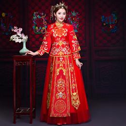 2019 vestido de noite vermelho completo Mulheres Formais Cheongsam Casamento Vermelho Tradicional Completa Comprimento Da Noiva Terno Do Casamento Estilo Chinês Vestido de Noite Do Vintage Hanfu Qipao vestido de noite vermelho completo barato